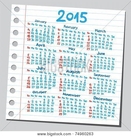 Calendar 2015 (sketch style)