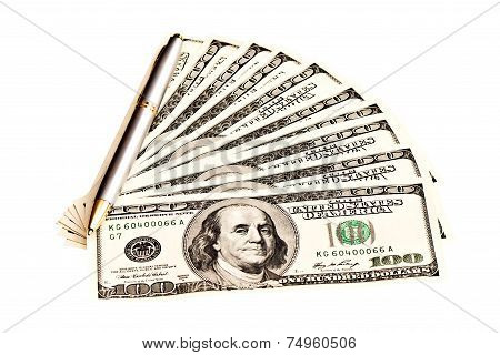 A Heap Of Dollars And Pen, Isolated On White