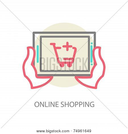 Line vector internet shopping concept - browser window