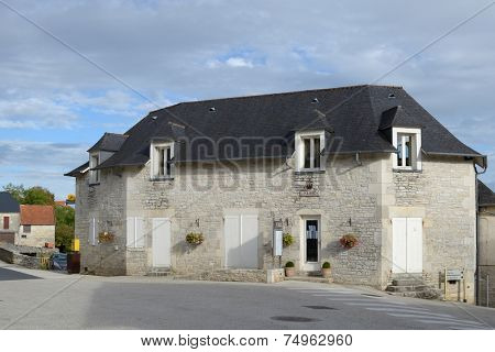 NESPOULS, FRANCE - SEPTEMBER 8, 2013: Building of the government of the commune Nespouls. With 633 habitants, the commune hosts the new Brive-Souillac Airport