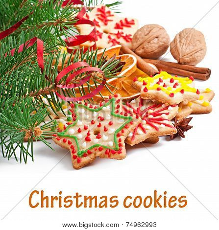 Christmas cookies, spices and spruce branches isolated on white background