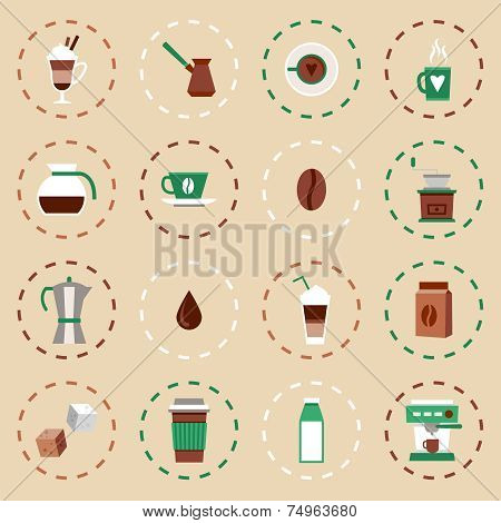 Coffee Flat Icons Set