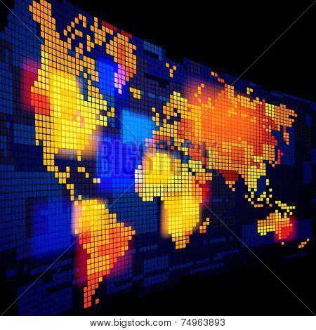 Luminous world map. Vector illustration