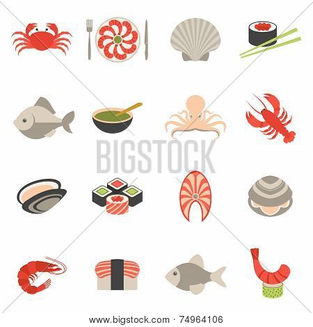 Seafood icons set flat