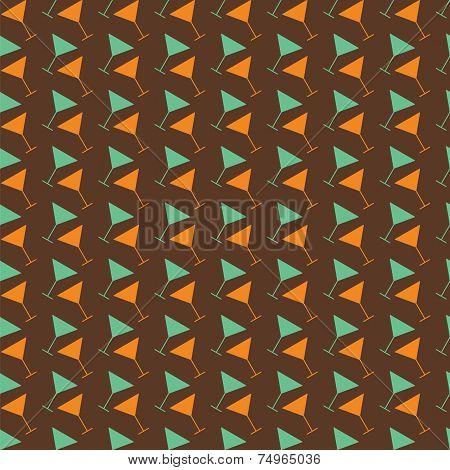 Martini Seamless Vector  Pattern. Retro Color
