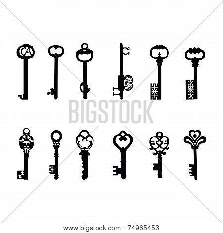 Vector keys silhouette. Antique Keys 2