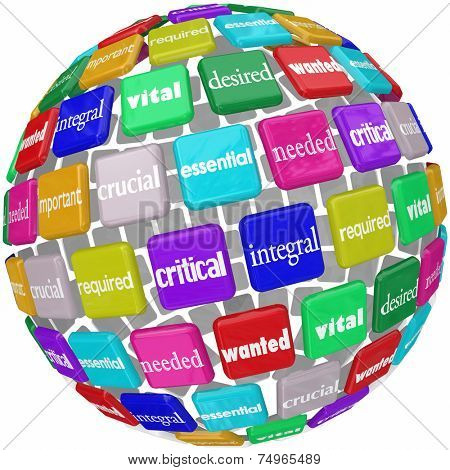 Essential word on tiles in a globe or world pattern with other terms like integral, vital, critical, crucial, needed, required, important and wanted