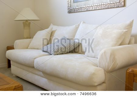 White Sofa In A Living Room