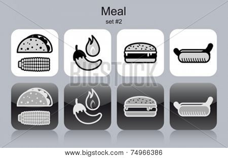 Meal menu food and drink icons. Set of editable vector monochrome illustrations.
