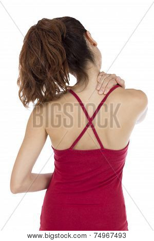 Woman With A Tense Neck And Shoulders
