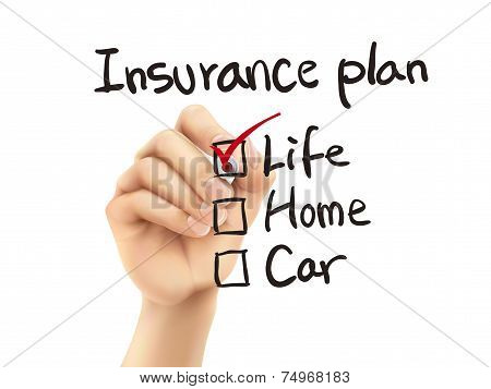 Insurance Plan Checklist Checking By 3D Hand