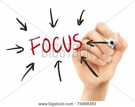 Focus Word Written By 3D Hand
