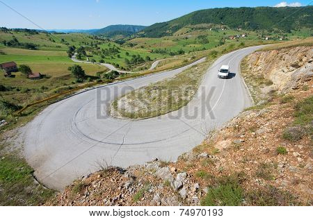 convolutions road of Montenegro rural area
