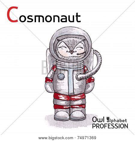 Alphabet professions Owl Letter C - Cosmonaut Vector Watercolor.