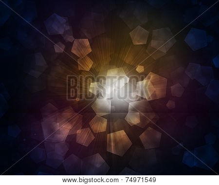 Glow multicolor pentagons on dark background