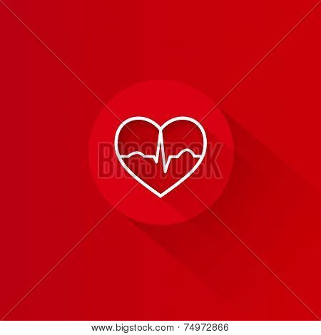 Flat long shadow red heart ecg design
