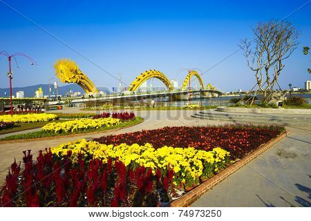 DA NANG CITY, VIETNAM - February, 2014 - The Dragon bridge that has recently obtained the Engineerin