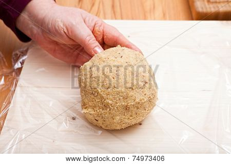 Ready Shaped Dough Ball On Plastic Wrap