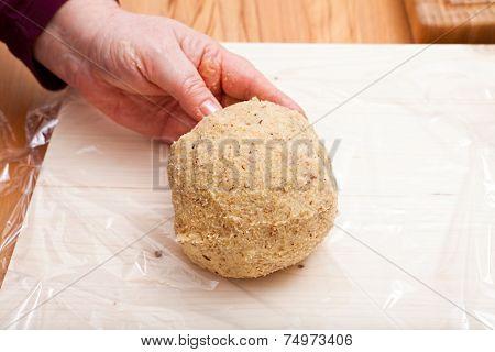 Ready Shaped Dough Ball On Plastic Wrap