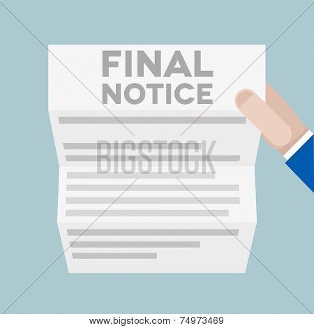 detailed illustration of a hand holding a letter with Final Notice headline, eps10 vector