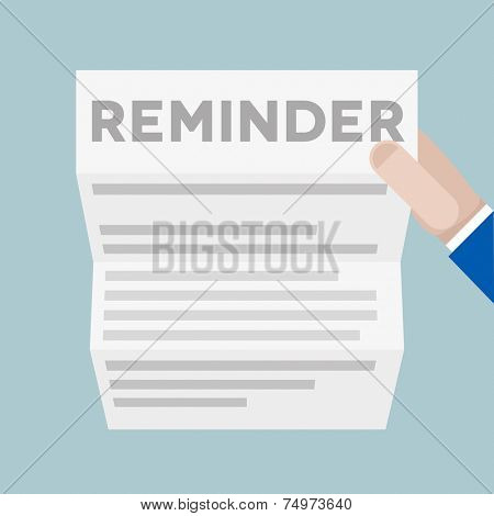 detailed illustration of a hand holding a sheet of paper with Reminder headline, eps10 vector