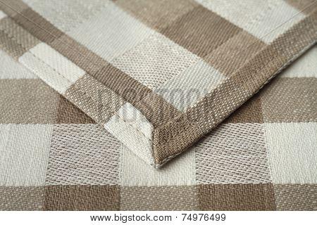 Hemmed edge of fabric closeup
