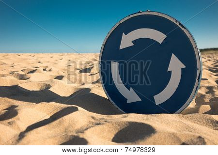 Desertification: Traffic Sign Covered By Sand