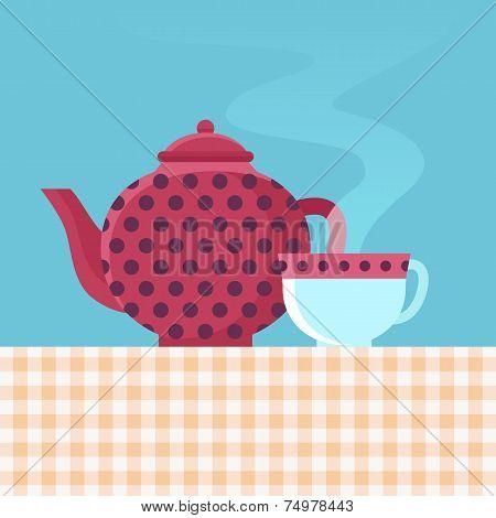 Vector Tea Pot And Cup