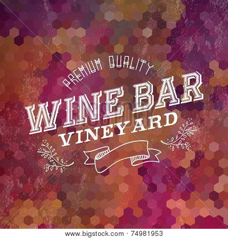 Premium Wine Bar Vintage Label Illustration Background