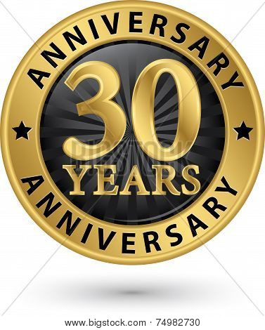 30 Years Anniversary Gold Label, Vector Illustration