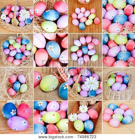 Sequence of many photos with colorful eggs in different positions