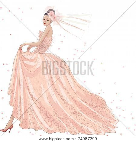 Young bride in pink dress on white background
