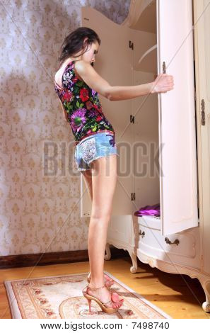 Girl Has Opened Wardrobe