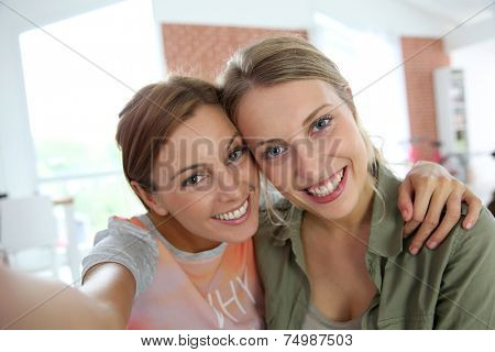 Cheerful girlfriends taking picture of themselves