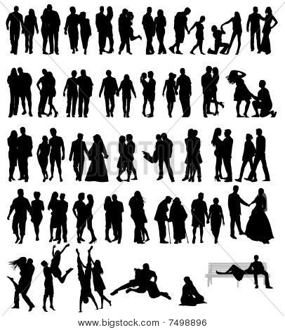 Couple people silhouettes