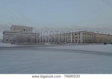 VORKUTA - APRIL 13: Mira square on April 13, 2013 in Vorkuta, Russia