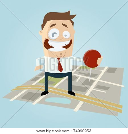 businessman with pin on city map