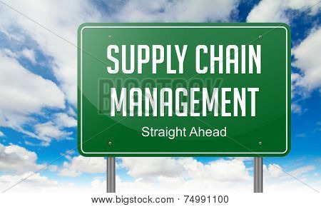 Supply Chain Management on Highway Signpost.