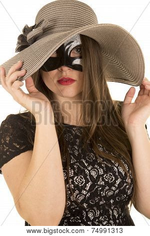 Woman Mask Both Hands On Hat