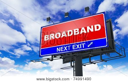 Broadband Inscription on Red Billboard.