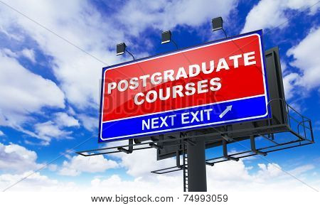 Postgraduate Courses on Red Billboard.