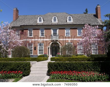 Large house with spring flowers