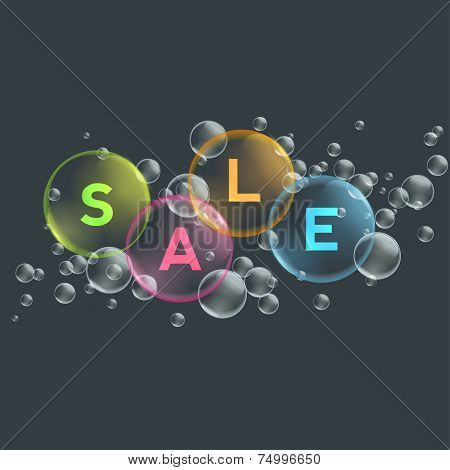 Price labels in bubbles. Sale