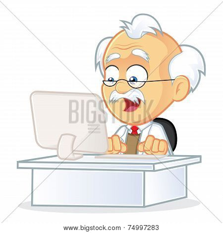 Vector Professor Sitting in Front of a Computer