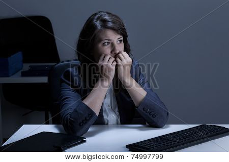 Stressed Out Businesswoman Biting Nails