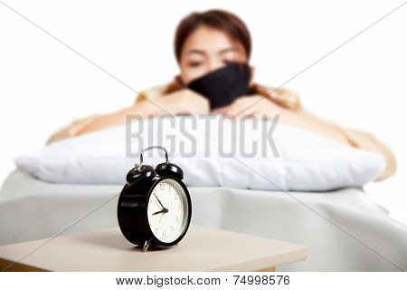Allarm Clock With Sleepy Asian Girl