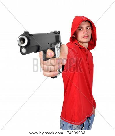 Young Robber With Gun
