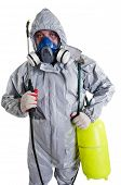 image of decontamination  - A pest control worker wearing a mask - JPG