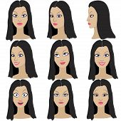 pic of black eyes  - Set of variation of emotions of the same girl with black hair - JPG