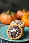 pic of spiderwebs  - Tasty Halloween cookies on plate - JPG